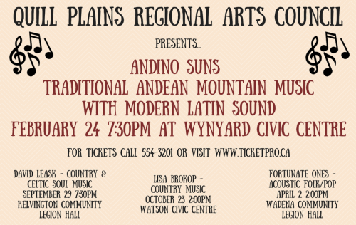 Quill Plains Regional Arts Council presents: Andino Suns @ Wynyard Civic Center